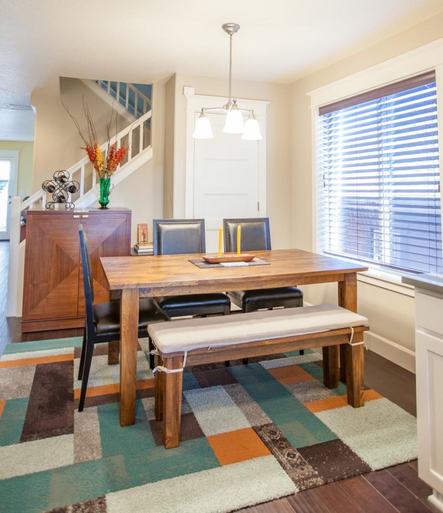 Dining room with FLOR carpet tile area rug